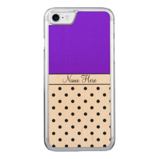 Indigo Name, Black Polka Dots Carved iPhone 7 Case