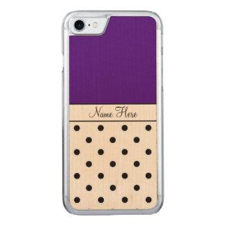 Indigo Name, Black Polka Dots Carved iPhone 8/7 Case