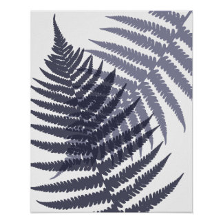 Indigo Navy Blue Tree Fern Print Pattern