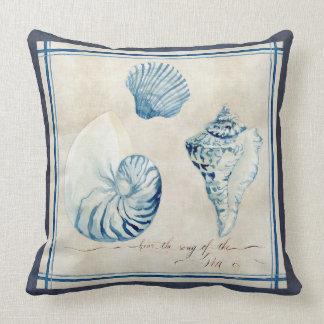 Indigo Ocean Beach Sketchbook Watercolor Shells Throw Pillow