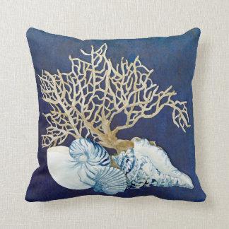 Indigo Ocean Coral Seashells Nautical Beach House Throw Pillow