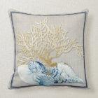 Indigo Ocean Nautilus Conch Scallop Coral Shells Throw Pillow