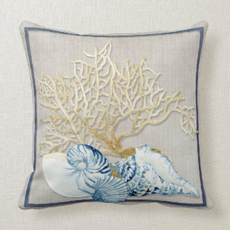 Indigo Ocean Nautilus Conch Scallop Coral Shells Throw Pillow
