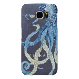 Indigo Ocean Octopus w Red Coral Watercolor Art Samsung Galaxy S6 Case