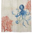 Indigo Ocean Parchment Red Fan Coral Blue Octopus