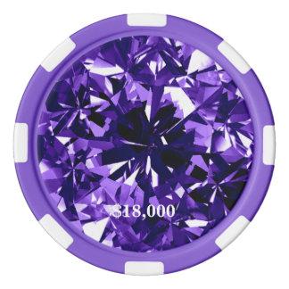 Indigo Purple Diamond Gem Stone Poker Chip Stripe