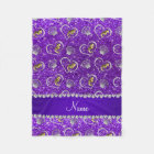 Indigo purple glitter gold seahorses silver shells fleece blanket