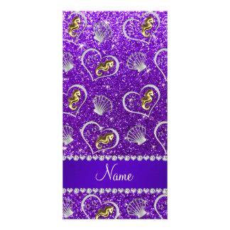 Indigo purple glitter gold seahorses silver shells picture card