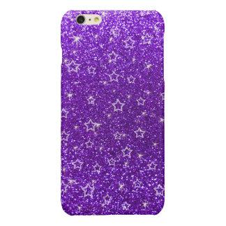 Indigo purple glitter stars glossy iPhone 6 plus case