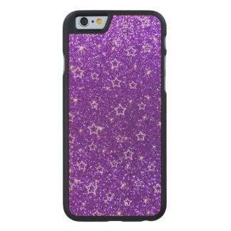 Indigo purple glitter stars carved® maple iPhone 6 case