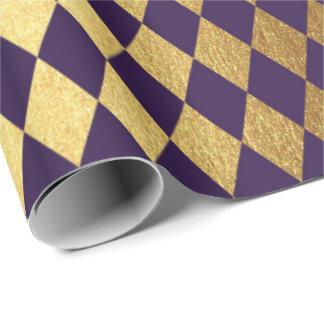Indigo Purple Gold Geometry Chessboard Diamond Cut Wrapping Paper
