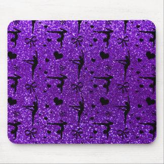 Indigo purple gymnastics glitter pattern mouse pad