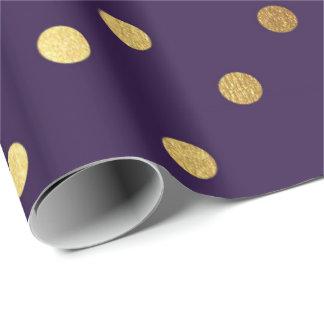 Indigo Purple Plum Golden Small Polka Dots Wrapping Paper
