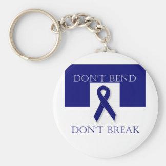 Indigo Ribbon- Don't Bend. Don't Break. DBI. Basic Round Button Keychain