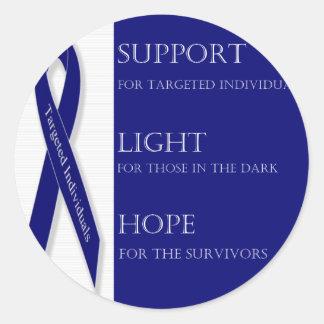 Indigo Ribbon. -Support, Light, Hope. -DBI Classic Round Sticker