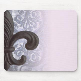 """indigo/rose """"iron fleur de lis"""" mousepad"""