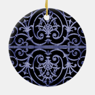 Indigo scrollwork pattern round ceramic ornament