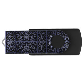 Indigo scrollwork pattern swivel USB 2.0 flash drive