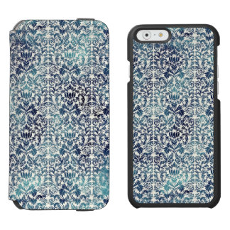 Indigo Shibori Denim Damask Distressed Blue Purple Incipio Watson™ iPhone 6 Wallet Case