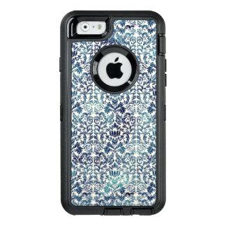 Indigo Shibori Denim Damask Distressed Blue Purple OtterBox Defender iPhone Case