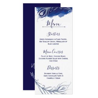 Indigo Silver Peacock Floral Wedding Menu Card