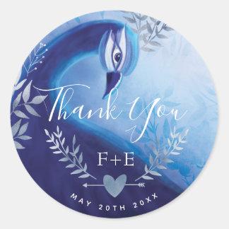 Indigo Silver Peacock Thank You Monogram Sticker
