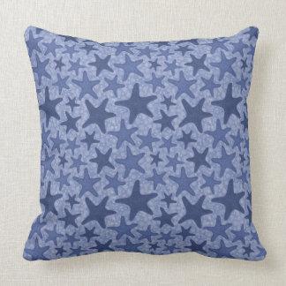 Indigo Starfish Pattern Throw Pillow