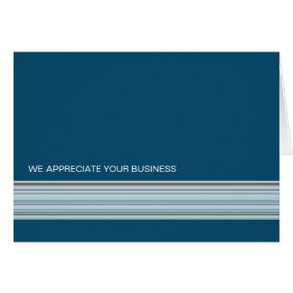 Indigo Stripes Business Thank You Card