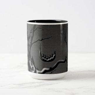 Indigo Tidings Madcap Grin Branches (Hues of Grey) Two-Tone Coffee Mug