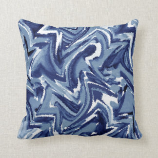 Indigo Watercolor Abstract Throw Pillow