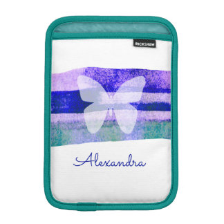 Indigo Watercolor Butterfly Personalized iPad Mini Sleeve