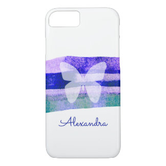 Indigo Watercolor Butterfly Personalized iPhone 8/7 Case