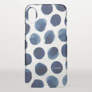Indigo Watercolor Dots iPhone X Case