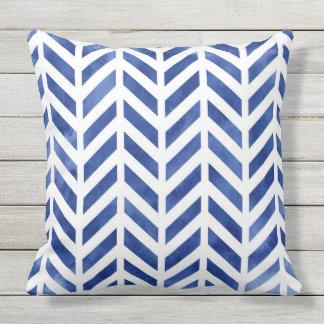 Indigo Watercolor Herringbone Chevron Outdoor Pillow