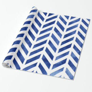 Indigo Watercolor Herringbone Chevron Wrapping Paper