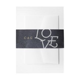 Indigo watercolor modern simple love wedding invitation belly band