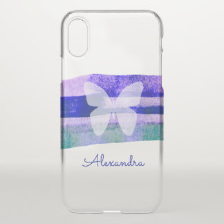 Indigo Watercolor Strokes & Butterfly Personalized iPhone X Case