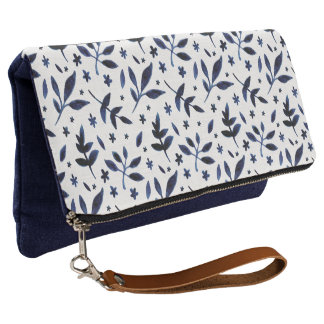 Indigo Watercolored Leaves | Fold-Over Clutch