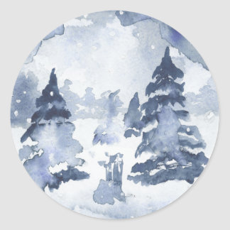 INDIGO WINTER Wonderland Watercolor Pine Snow Round Sticker