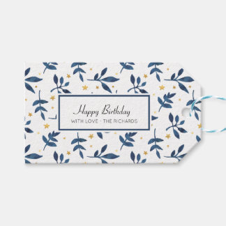 Indigo with gold faux stars pack of gift tags
