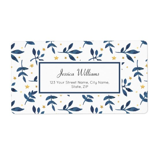 Indigo with gold faux stars shipping label