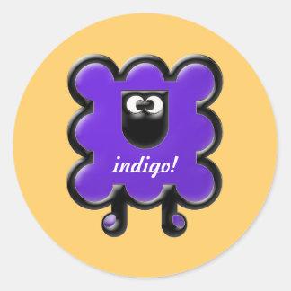 indigo woollie round sticker