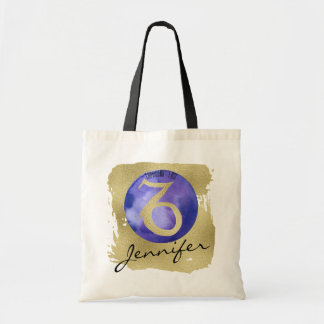 Indigo Zodiac Sign Capricorn on Gold Background Tote Bag