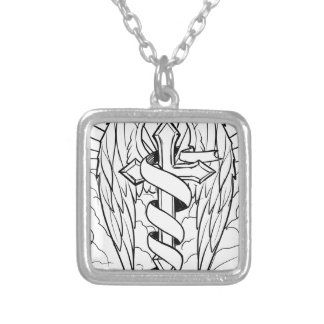 Individual cross with wings silver plated necklace