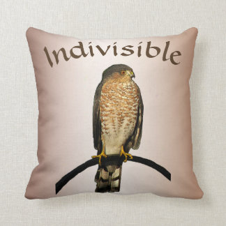 Indivisible Brown Hawk Throw Pillow
