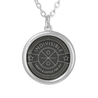 Indivisible, with liberty and justice for all. silver plated necklace