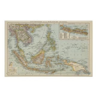 Indo china and Malaysian Archipelago Poster
