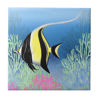 Indo Pacific Reef Moorish Idol Fish Tile