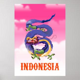 Indonesia Dragon retro travel poster