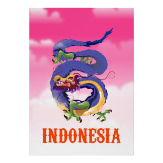 Indonesia Dragon retro travel poster